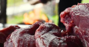 Fresh uncooked red meat on the wooden table ready to be cooked on the outdoor fire grill. Barbecue  in the garden royalty free stock photo