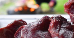 Fresh uncooked red meat on the wooden table ready to be cooked on the outdoor fire grill. Barbecue  in the garden royalty free stock images