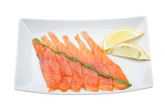 Fresh uncooked salmon fillet. With lemon Royalty Free Stock Photos