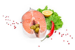 Fresh uncooked salmon steak. Stock Image
