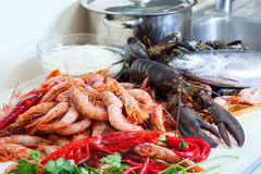 Fresh uncooked sea foods Stock Photos
