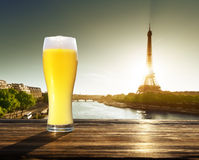 Fresh  unfiltered beer and Eiffel tower, Paris, France Stock Photos
