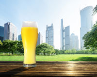 Fresh  unfiltered beer in park, Shanghai Royalty Free Stock Photography