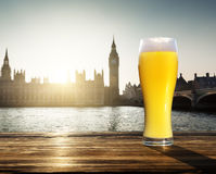 Fresh  unfiltered beer and Westminster, London, UK Stock Image