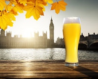 Fresh unfiltered beer and Westminster, London, UK stock photography