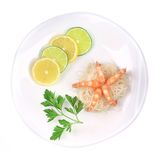 Fresh unshelled boiled shrimps with spaghetti. Royalty Free Stock Image