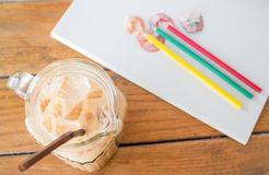Fresh up coffee break on artist work table Royalty Free Stock Image