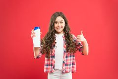 Fresh it up. Small child long hair. Girl active kid with long hair. Shampoo bottle. Dry shampoo. Easy tips making stock images