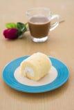 A fresh vanilla cake roll Royalty Free Stock Photos