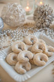 Fresh Vanilla Cookies With Powdered Sugar For Christmas stock photos