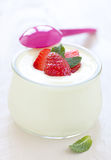 Fresh vanilla yogurt Stock Photo