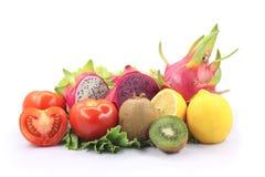Fresh various fruits. Colorful fresh various fruits isolated white background Stock Photo