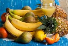 Fresh various fruits with juice Stock Photos
