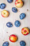 Fresh various fruits on wooden table Stock Photo
