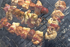 Fresh various  meat on skewer. In a smoke on grill Royalty Free Stock Images