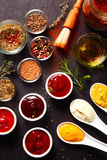 Fresh Various Spices And Sauces On The Table Stock Photography