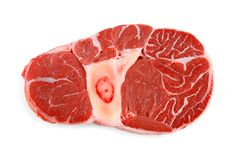 Fresh veal shank meat on white background Stock Images