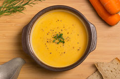 Fresh Vegan Carrot and Potato Soup Stock Image