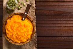 Fresh Vegan Pumpkin Puree Royalty Free Stock Photography