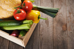 Fresh vegatables in crate Royalty Free Stock Photos