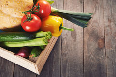 Fresh vegatables in crate Stock Photography