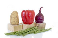 Fresh Vegetable. Fresh biological vegetables, white background, reflective surface Royalty Free Stock Photography