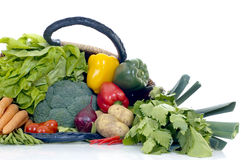 Fresh Vegetable. Fresh bio vegetables, white background, reflective surface Royalty Free Stock Photo