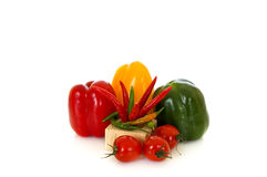 Fresh Vegetable. Fresh bio vegetables, white background, reflective surface Stock Images
