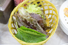 Fresh vegetable in a basket. Korean food side dish stock photography
