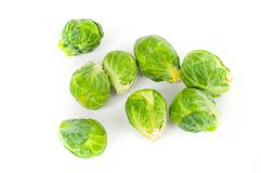 Fresh vegetable.  Brussels sprouts on a white background. Fresh vegetable, cabbage. Brussels sprouts on a white background stock photos