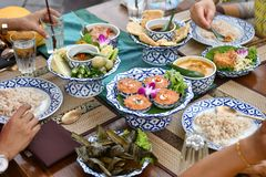 Fresh vegetable chili and curry are served for foreign tourists. Popular Thai food with delicious taste. Fresh vegetable chili and curry are food for Thai people stock photography