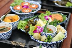 Fresh vegetable chili and curry are served for foreign tourists. Popular Thai food with delicious taste. Fresh vegetable chili and curry are food for Thai people royalty free stock images
