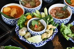 Fresh vegetable chili and curry are served for foreign tourists. Popular Thai food with delicious taste. Fresh vegetable chili and curry are food for Thai people royalty free stock photo