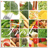 Fresh Vegetable Collage. Over white.  Includes tomatoes broccoli peas squash potato onions parsley butternut green beans and more Stock Photography