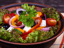 Fresh vegetable colorful greek salad Stock Photo