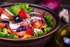 Fresh vegetable colorful greek salad Stock Image