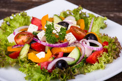 Fresh vegetable colorful greek salad Royalty Free Stock Images