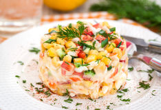 Fresh vegetable and crab salad with mayonnaise Royalty Free Stock Photo