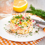 Fresh vegetable and crab salad with mayonnaise Stock Photography