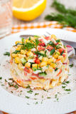 Fresh vegetable and crab salad with mayonnaise Royalty Free Stock Image