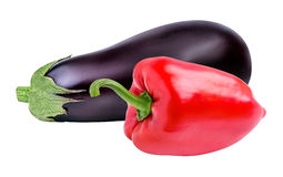 Fresh vegetable eggplants and pepper isolated on white. Background Royalty Free Stock Photos