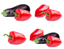 Fresh vegetable eggplants and pepper isolated on white. Background Royalty Free Stock Image