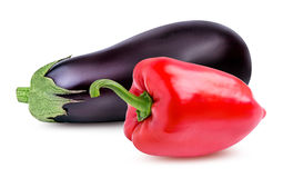 Fresh vegetable eggplants and pepper isolated on white. Background Stock Photo