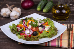 Fresh vegetable greek salad on the table Royalty Free Stock Photography