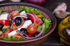 Fresh vegetable greek salad on the table Stock Photography