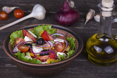 Fresh vegetable greek salad on the table Royalty Free Stock Photo