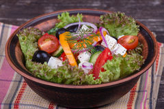 Fresh vegetable greek salad on the table Stock Photo