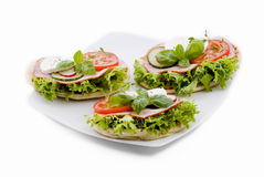 Fresh vegetable and ham sandwiches Royalty Free Stock Photos