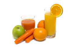 Fresh vegetable juice with carrot apple and orange. Isolated on white Stock Photos
