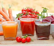Fresh vegetable juices Royalty Free Stock Image
